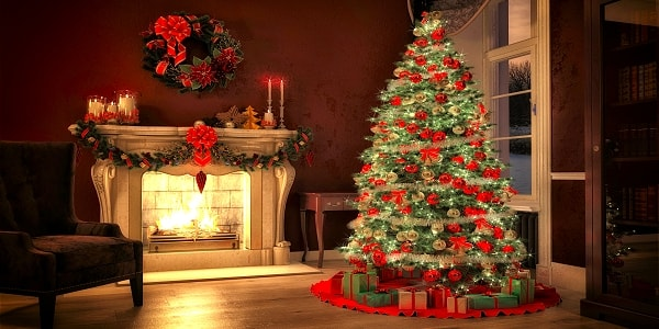 Christmas tree and fire place with festive Christmas decorations