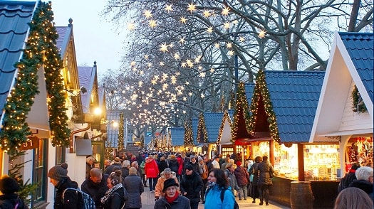 Christmas Markets stalls with shoppers