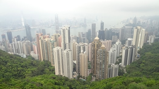 View from The Peak over looking Hong Kong and Victoria Harbour