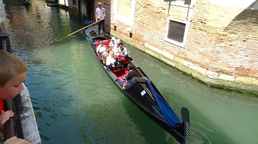 A gondola on the canals of Venice