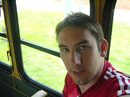 Paul Denton on the local trolly bus