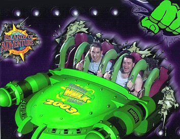 Paul Denton on hulk ride (Hulk:TM & © Marvel Characters. Inc.)
